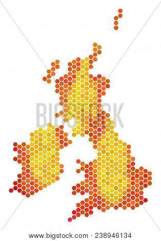 Great Britain And Ireland Map. Vector Hex-tile Geographic Plan Drawn With Bright Orange Color Tones.