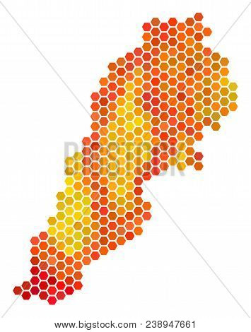 Lebanon Map. Vector Hex Tile Geographic Plan Drawn With Hot Color Tones. Impressive Lebanon Map Conc