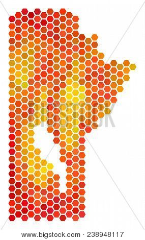 Manitoba Province Map. Vector Hexagon Geographic Scheme Drawn With Fire Color Tones. Abstract Manito