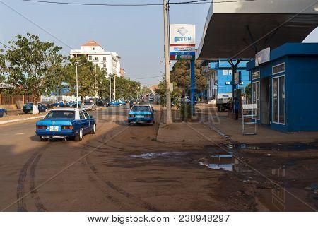 Bissau, Republic Of Guinea-bissau - January 28, 2018: View Of The Amilcar Cabral Avenue (avenida Ami