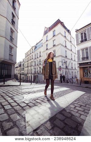 Girl Is Walks Around Montmartre