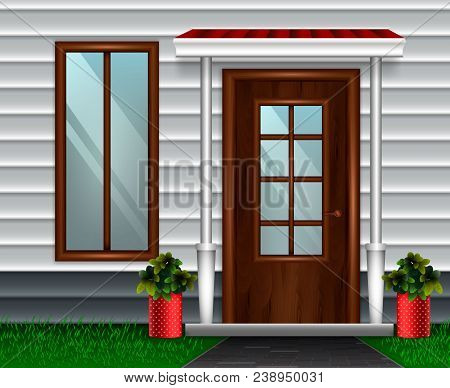 Entrance Doors Facade Realistic 3d Composition With View Of Entrance To Private Residence With Front