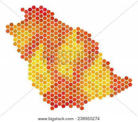 Saudi Arabia Map. Vector Hex Tile Territorial Map Drawn With Bright Orange Color Hues. Impressive Sa
