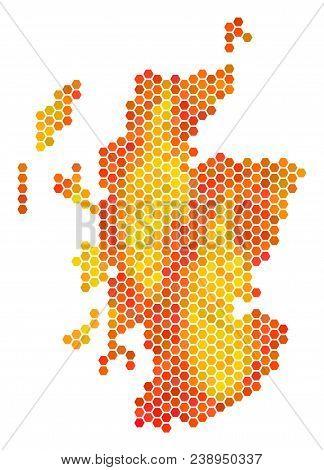 Scotland Map. Vector Honeycomb Territorial Map Using Hot Color Tints. Impressive Scotland Map Compos