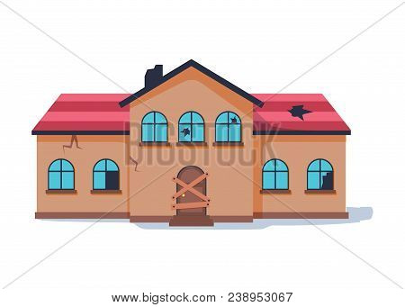 Old Abandonded House Cartoon Vector Illustration. Decaying Suburban Cottage With Broken Windows. Vin