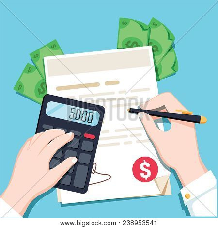 Economics Calculations, Hands With A Calculator And Money. Flat Design Vector Illustration. Bank Wor