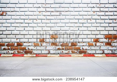 Background View From Footpath With Old Brick Wall Background And Texture. Abstract Wall Background O