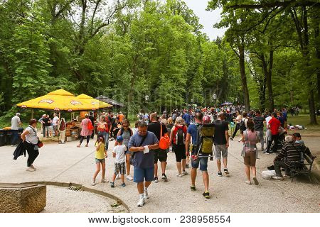 Zagreb, Croatia - 01 May, 2018: Large Group Of People Walking Down The Walking Path During The Inter