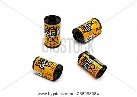 Bangkok Thailand - April 22, 2018: Kodak Gold 100 For Film Camera, Old Various Vintage 35mm Film Rol