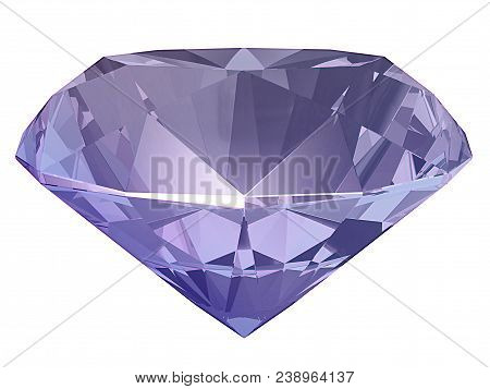 Amethyst, Spinel Side View Render Isolated On White Background (3d Illustration)