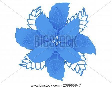 Blue Metal Flower Rendering Isolated On White Background (3d Illustration)