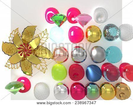 Gold Metal Flower And Different Materials Spheroids Rendering On Background (3d Illustration)