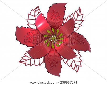 Red Metal Flower Rendering Isolated On White Background (3d Illustration)
