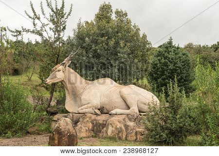 Didima, South Africa - March 18, 2018: Statue Of An Eland,  Taurotragus Oryx Oryx, At Didima At Cath