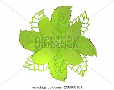 Lime Colored Metal Flower Rendering Isolated On White Background (3d Illustration)