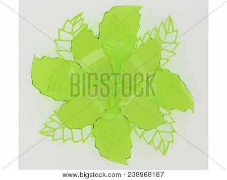 Lime Colored Metal Flower Rendering Isolated On Background (3d Illustration)