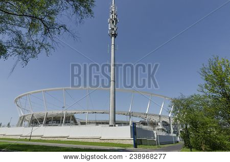 Chorzow, Silesia, Poland - April 21, 2018: Silesian National Stadium With An Aerial Mast After Full
