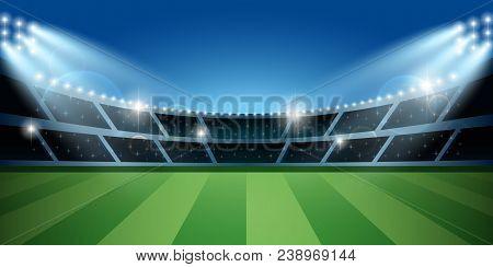 Soccer Or Football Stadium With Spotlight. Soccer Arena. Vector Illustration.