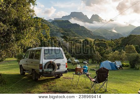 Monks Cowl, South Africa - March 18, 2018: A Tent And Vehicles At The Camping Site At Monks Cowl In