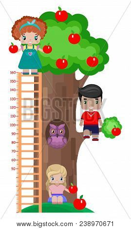 Growth Meter For Children, With An Apple Tree, An Owl In A Hollow, And Children, A Boy And Two Girls