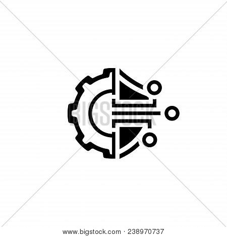 Cryptography Settings Icon. Modern Computer Network Technology Sign. Digital Graphic Symbol. Gear Wi