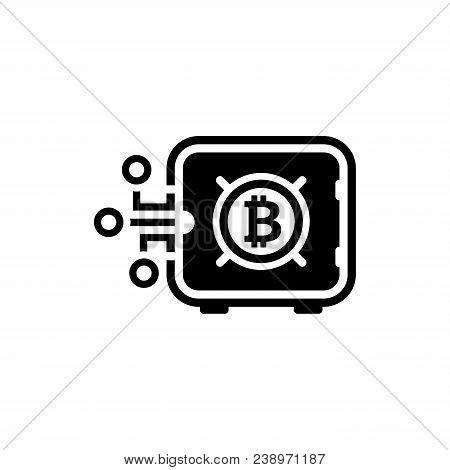 Bitcoin Safe Box Icon. Modern Financial Technology Sign. Digital Graphic Symbol. Bank Safe Box With