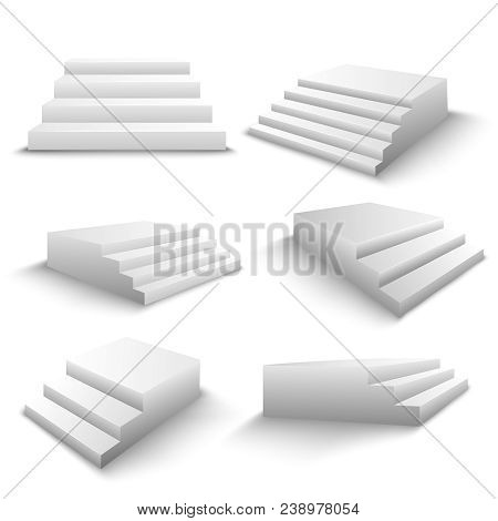 White Stairs 6 Realistic 3d Elements Set With Various Viewpoints And Shadows Isolated Vector Illustr