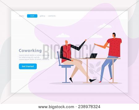 Coworking Landing Page With Team Work Composition, Graphic Interface Elements On Light Background Fl