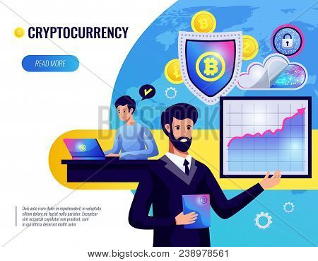 Cryptocurrency Vector Illustration Of People Involved In Cryptocurrency Mining And Finance Market An
