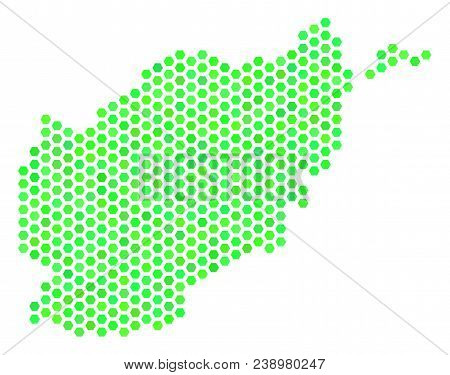 Eco Green Afghanistan Map. Vector Hex Tile Territorial Plan In Eco Green Color Tones. Abstract Afgha