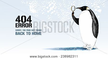 404 Error Page Vector Illustration, Banner With Not Found Message. Cartoon Penguin With Lenses Backg