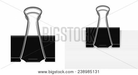 Isolated On White Vector Realistic Black Paper Clip With A Silver Handle. A Paper Clip Attached To A