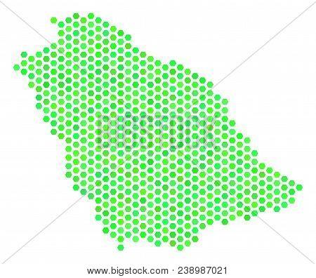 Eco Green Saudi Arabia Map. Vector Hex-tile Geographic Map Using Green Color Shades. Abstract Saudi