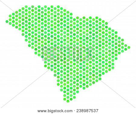 Fresh Green South Carolina State Map. Vector Honeycomb Geographic Scheme Drawn With Eco Green Color