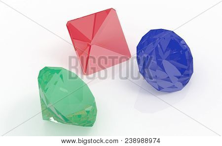 Gems (ruby, Emerald, Sapphire) Side View Render Isolated On White Background (3d Illustration)