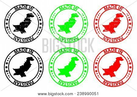 Made In Pakistan - Rubber Stamp - Vector, Pakistan Map Pattern - Black, Green And Red