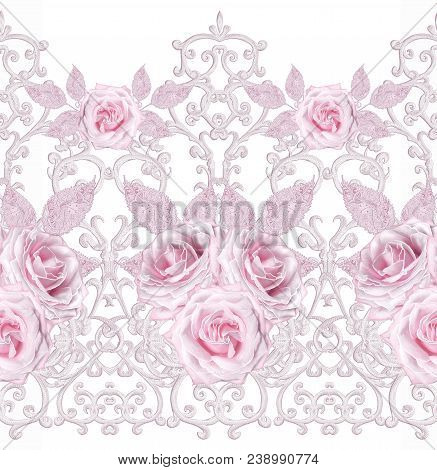 Seamless Pattern. Decorative Decoration, Paisley Element, Delicate Textured Silver Leaves Made Of Th