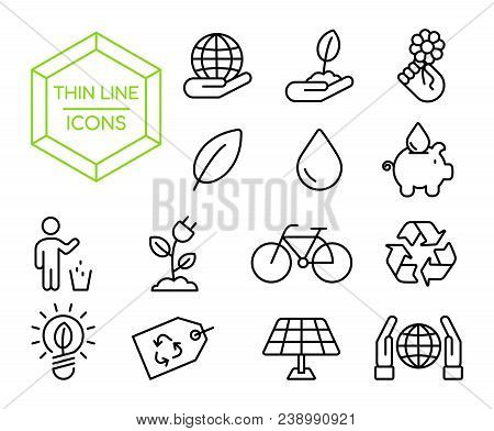 Green Eco Friendly Environment Thin Line Icon Set