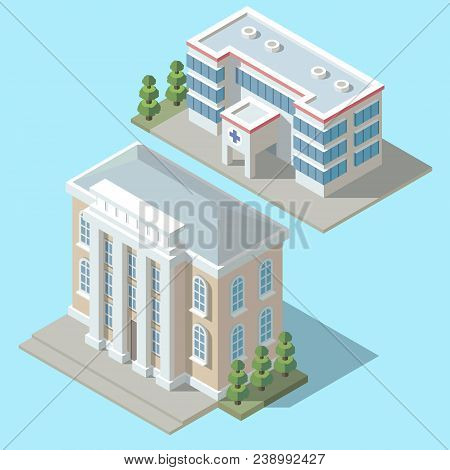 Vector 3d Isometric Hospital, Ambulance Building With Green Trees. Cartoon Clinic Exterior, Town Inf