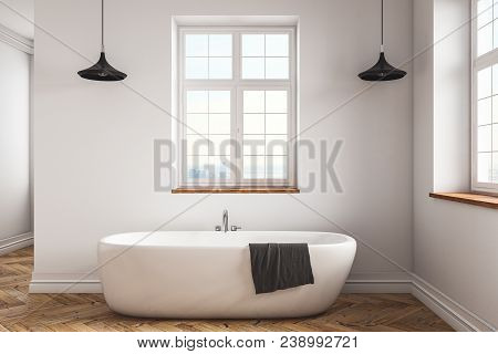Clean Concrete Bathroom Interior With Equipment And Window. Hotel And Residence Concept. 3d Renderin