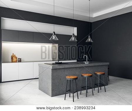 Contemporary Dark Kitchen Interior With Furniture And Equipment. Style And Design Concept. 3d Render