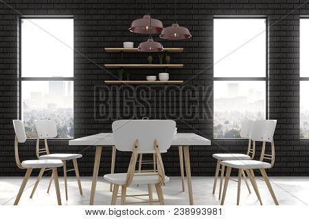 Modern Brick Dining Room With Furniture And City View. 3d Rendering