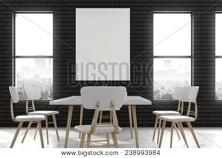 Modern Dining Room Interior With Empty Poster, Furniture And City View. Mock Up, 3d Rendering