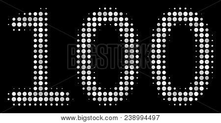 100 Text Halftone Vector Icon. Illustration Style Is Dot Iconic 100 Text Symbol On A Black Backgroun