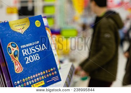 Moscow, Russia - April 27, 2018: Official Album For Stickers Dedicated To The World Cup On The Shelf