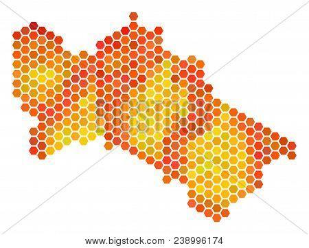 Turkmenistan Map. Vector Hex Tile Territorial Plan In Fire Color Tints. Impressive Turkmenistan Map
