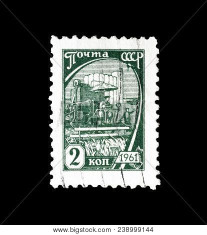 Soviet Union - Circa 1961 : Cancelled Postage Stamp Printed By Soviet Union, That Shows Harvest.