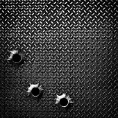 diamond plate with bullet hole poster