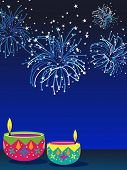 abstract fireworks background with set of colorful artwork decorated diya for indian festival deepawali poster