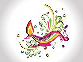 colorful elegant floral background with stylish diya for diwali celebration & other indian festival poster